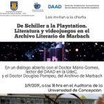 """Imagen Charla """"De Schiller a la Playstation. Literatura y Videojuegos en el Archivo Literario de Marbach""""."""